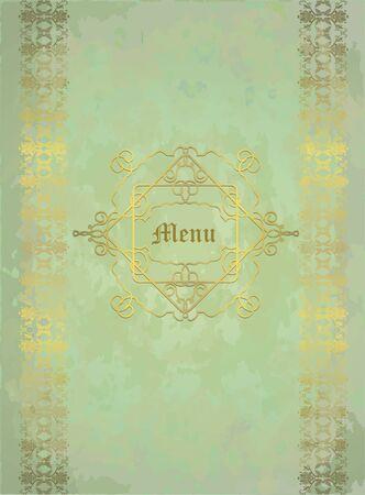 floral design golden on pale green shabby background,eps10 Illustration