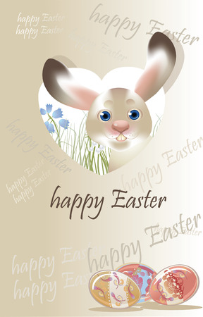 pastel colored: Easter banny, spring postcard pastel colored Illustration