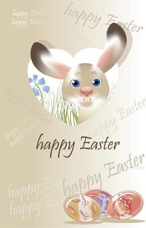 postcard: Easter banny, spring postcard pastel colored Illustration