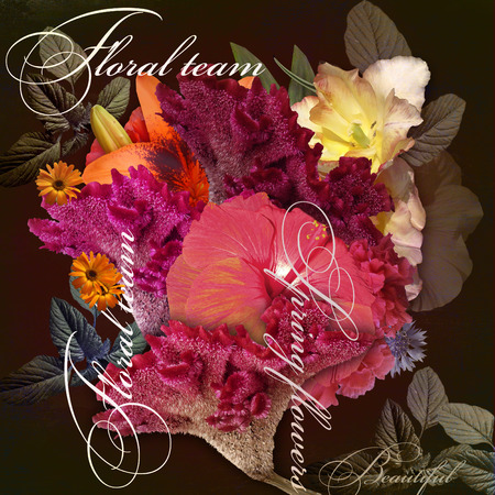 to shading: floral design imitation shading  on dark background