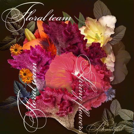 italics: floral design imitation shading  on dark background
