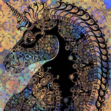 unicorno colorato su sfondo nero