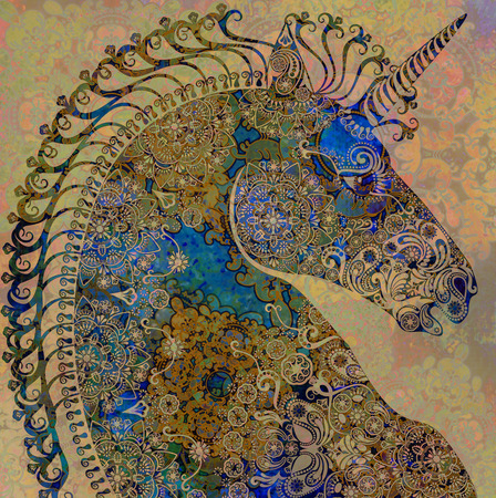 colored unicorn on black background
