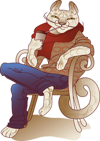 squinting: happy cat drinking coffee sitting on a chair