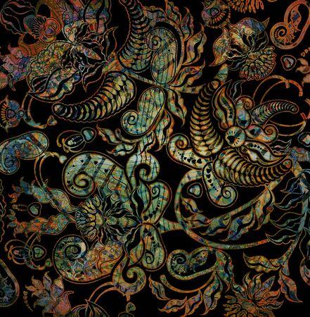 oriental floral pattern on blacj background Stock Photo