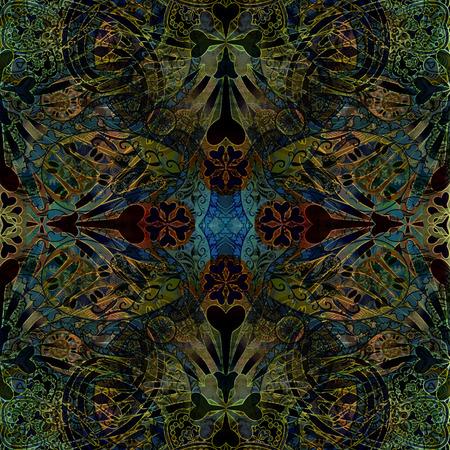 symmetric: oriental floral patterned background, symmetric