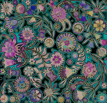 motley: motley floral design on spotted background