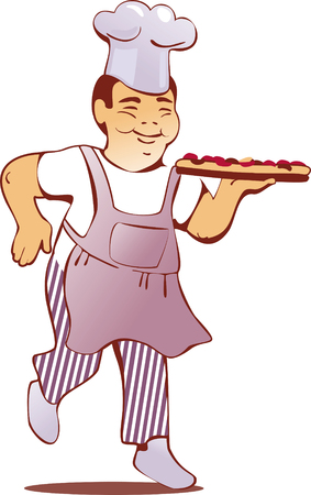 happy Chinese cook in uniform with pizza Illustration