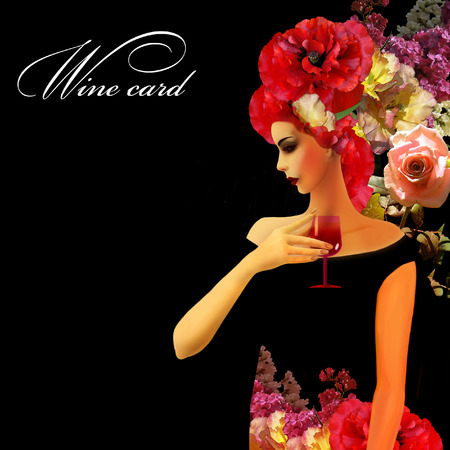 profil: woman profil on black  background, wine card
