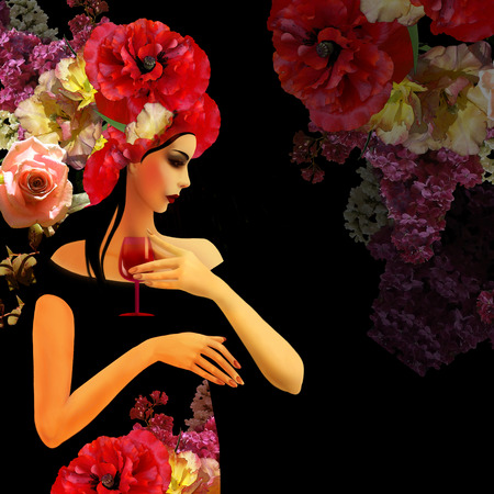 profil: woman profil on floral background, wine card Stock Photo