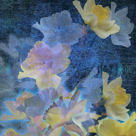 abstract colorful spotted floral background blue, yellow