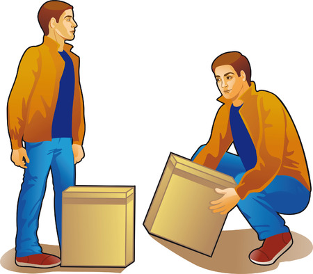 young man lifting box, colored drawing Illustration