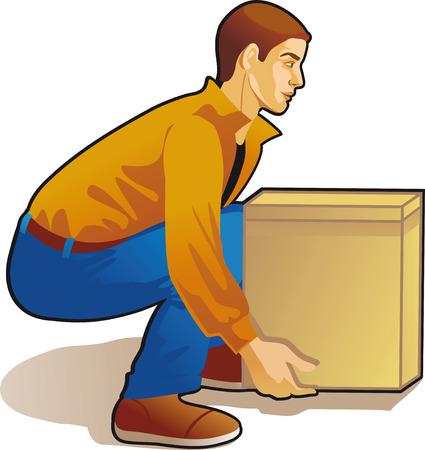 jonge man lifting box, gekleurde tekening