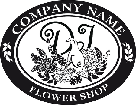 black and white for logo design bird and flower
