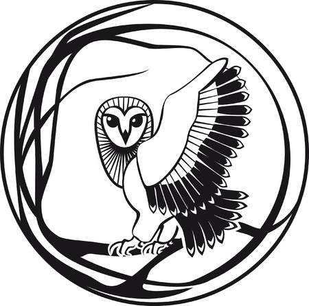 black and white owl sitting on a branch tree vector illustration.