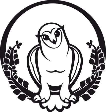black and white owl sitting label circular