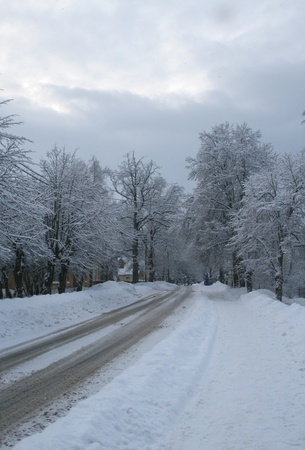 city road in winter morning photo