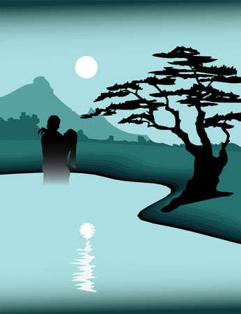 Night Love couple in lake Illustration