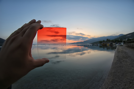 gradual: the differences between using gradual orange filter or not use Stock Photo