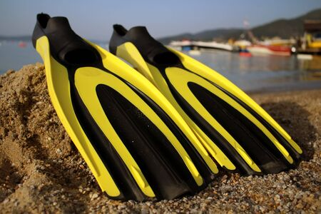 flipper: yellow and black colored flipper over the sands Stock Photo