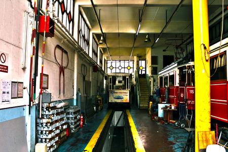 tramway: tramway hangar in istiklal street istanbul