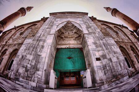 fish eye: fish eye view of the great mosque in bursa Editorial