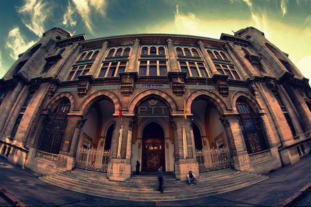 fish eye lens: historical ptt building in istanbul with fish eye lens Editorial