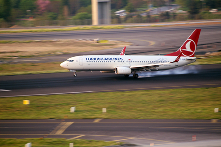 plane landing: air plane landing on runway and drifting touch down 18062015 Istanbul  Turkey