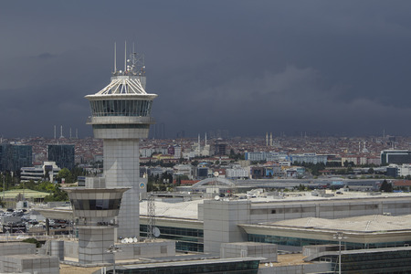 cb: air traffic control tower with dark build up cb bad weather
