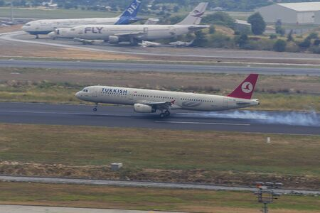 air plane landing on runway and drifting touch down 18062015 Istanbul  Turkey
