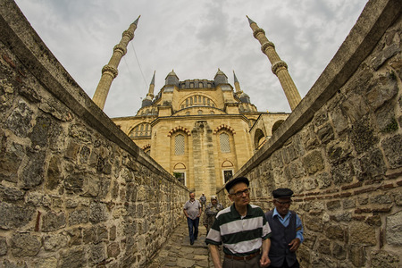 selimiye mosque: 22.06.2015 Edirne  Turkey: Interior view from the Selimiye Mosque with amazing ceramics and design built by Sinan the archtitet for Ottoman Sultan Selim II on 1575. Editorial