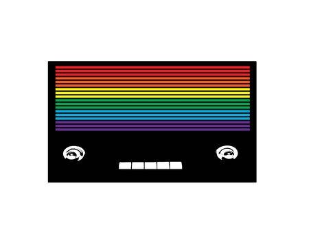 isolated Rainbow colored vintage radio  Stock Photo