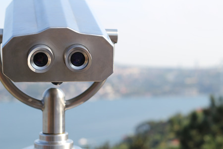 operated: Coin operated binocular with blurred blurred background Istanbul Bosphorus Stock Photo