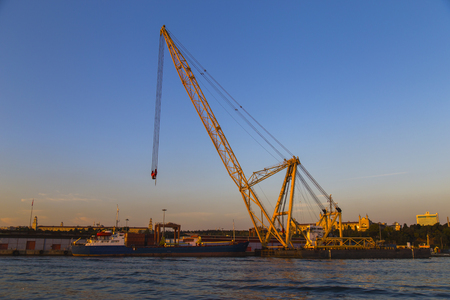 straddle: Crane view from the Port During the sunset
