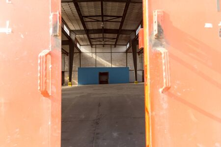 hangar: Inside of Empty old hangar for design Stock Photo