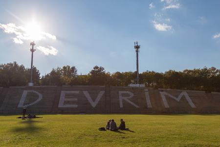 technical university: Ankara, Turkey; November 10,2015: Middle East Technical University open air tribune,  with revolution legend