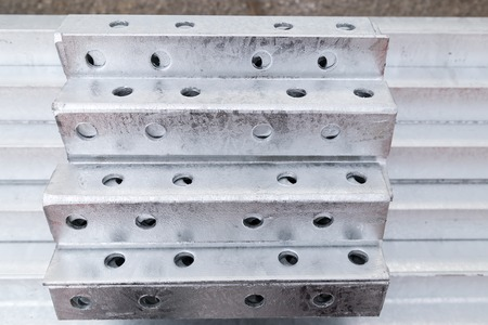 in a row: Galvanized steel material in row