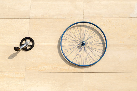rim: Wheel rim parts of bicycle on the wall Stock Photo