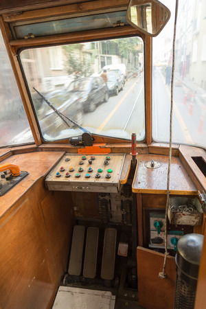 tramway: Interior of tramway and its control cabin Stock Photo
