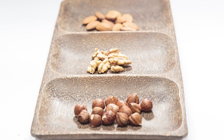 judaic: Isolated dried nuts and fruits with shallow depth of field