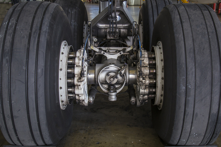 airplane landing: airplane landing gear detail view Stock Photo