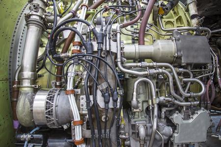 airplane engine: airplane engine side view close up