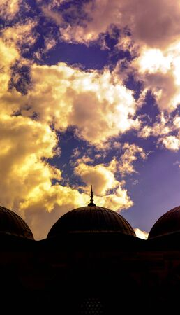 domes: Silhouette of domes with hard reverse light Stock Photo