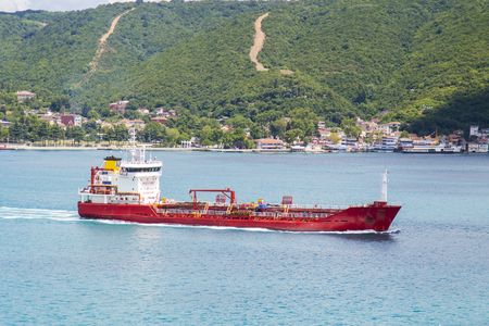 Big size tanker ship in sunny day Stock Photo