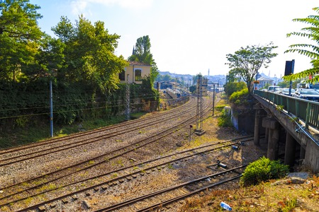 complicated journey: Railroad intersection view from sunny day Stock Photo