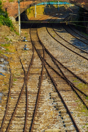 Railroad intersection view from sunny day Stock Photo
