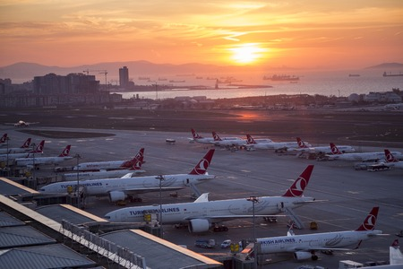 Istanbul, Turkey - February 23, 2017: General view from Istanbul Ataturk Airport During Sunrise