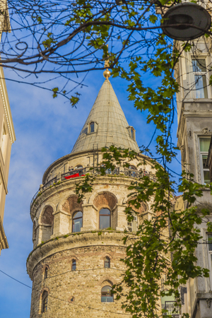 High quality Galata Tower view with blue sky for design