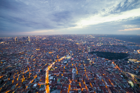 Istanbul view from air shows us amazing twilight scene Stock Photo