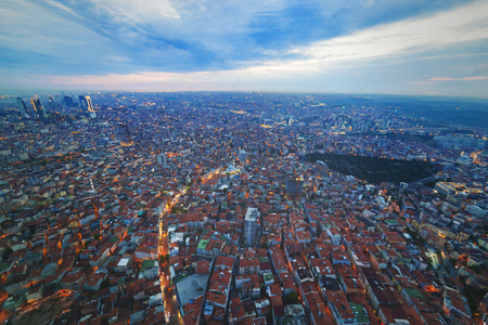 dwell: Istanbul view from air shows us amazing twilight scene Stock Photo